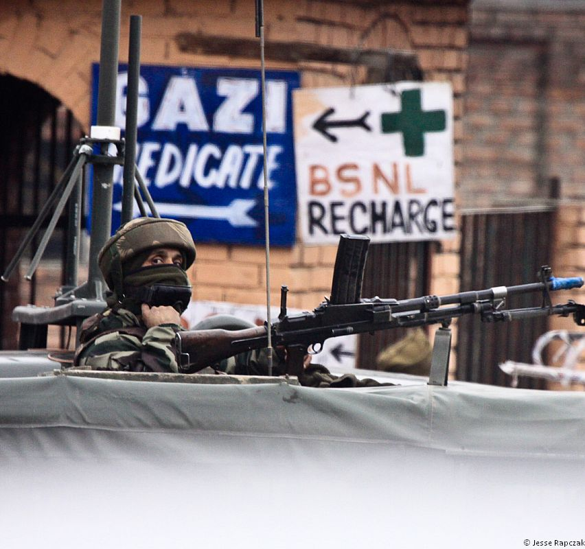 An Indian soldier in Srinagar, Kashmir.