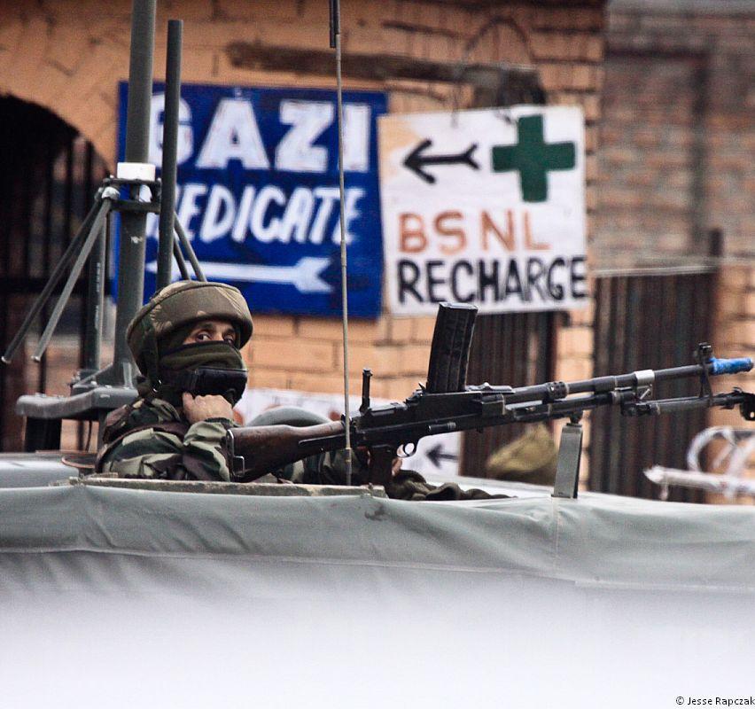 An Indian soldier in Srinagar, Kashmir.